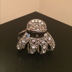 Silver Hair Clip with Sparkly Bling